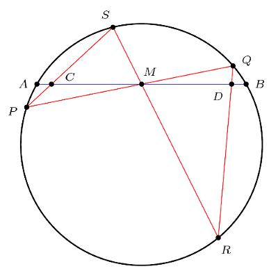 cercle, cordes, milieu d'un segment, preuve difficile