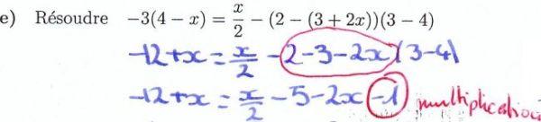 Résoudre une équation de premier degré (faux)